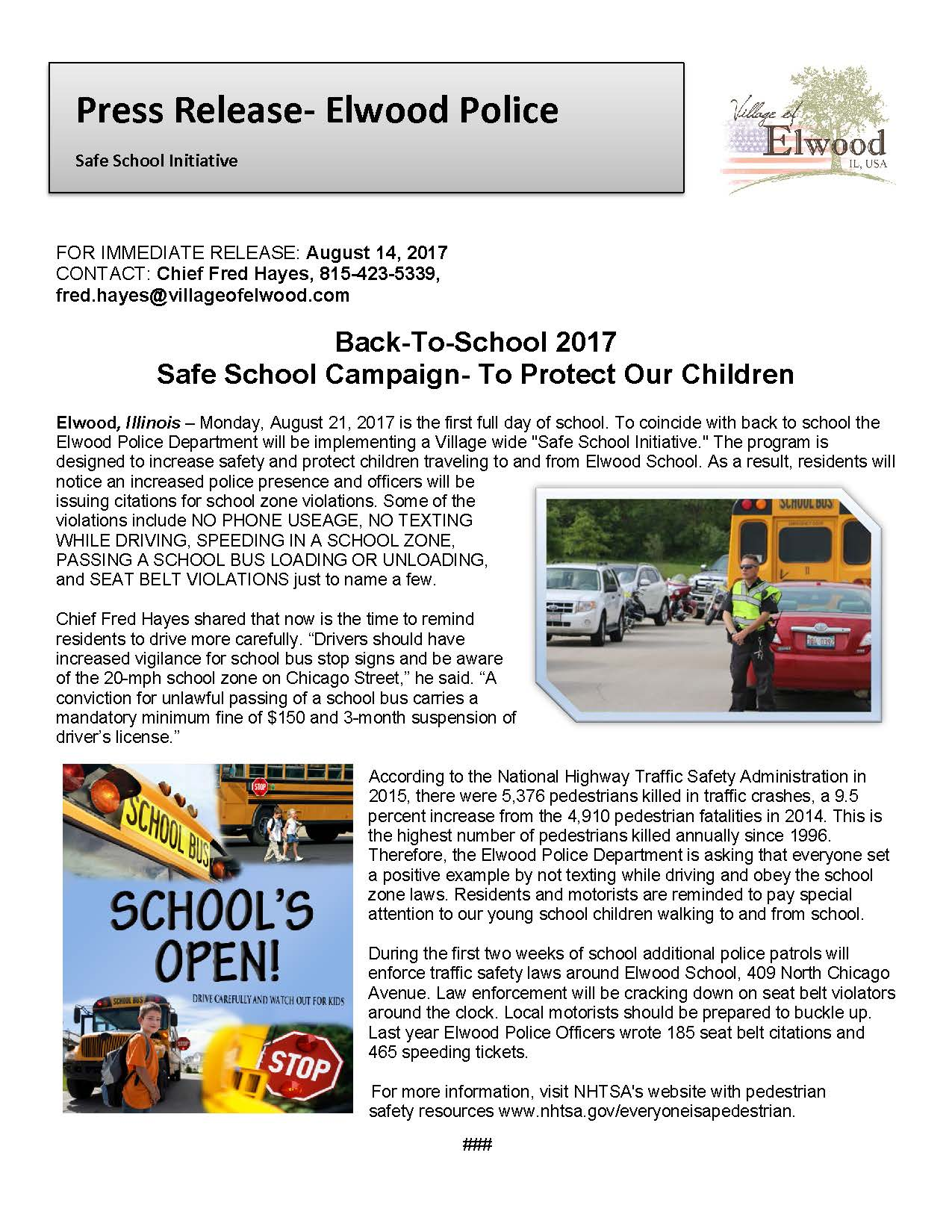 Press Release Back To School Traffic Safety Initative 2017