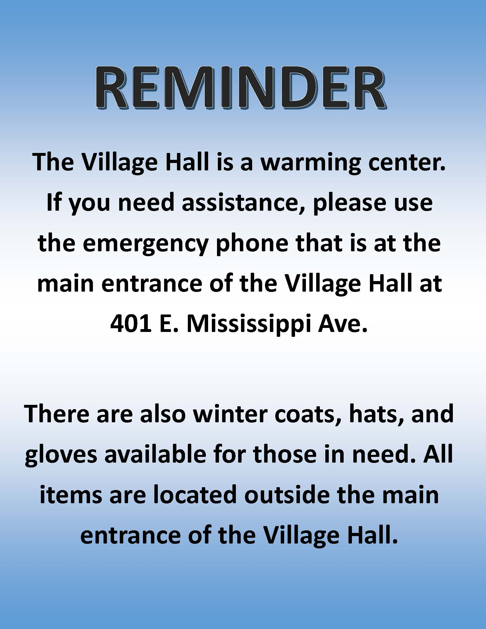 reminder of warming center